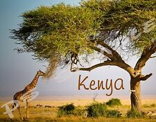 Africa - KENYA - GIRAFFE, ACACIA TREE - Travel Souvenir Flexible Fridge Magnet