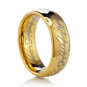 acciaio IL SIGNORE DEGLI ANELLI UOMO ANELLO GOLD unisex DONNA oro FASCETTA im