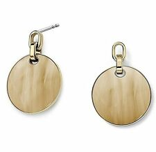 MICHAEL KORS GOLD TONE,MIX STEEL & HORN ACETATE DROP DISK LARGE EARRINGS MKJ3454