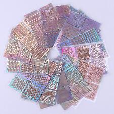 24 Blatt Nail Art Hohl Vinyls Nagel Schablonen Sticker Stencil Stickers Decal