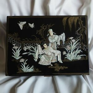 China Antique Ormolu Bronze Mother Pearl Handpainted Gold Black Wood Lacquer Box