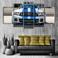 Large Ford Mustang 5 Panel Canvas, Sports Car, Wall Art, Picture, Print #094