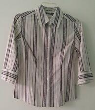 "apt.9 stretch 3/4"" SLEEVE, BROWN & WHITE, PIN STRIPED, BUTTON DOWN DRESS SHIRT S"
