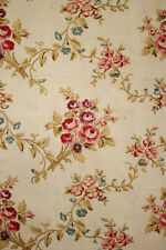 Floral Fabric 1890's French silk and cotton blend textile roses striped ground