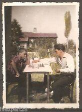 vintage Bulgarian photo men playing chess 1940's #2