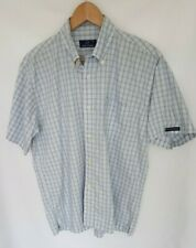 Fred Perry Mens Plaid Short Sleeved Shirt Medium M Button Down Blue White