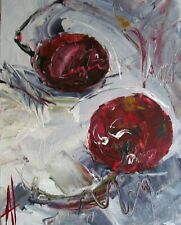 RED CHERRY STILL LIFE MODERN IMPRESSIONISM ART ORIGINAL PAINTING ANNE THOUTHIP