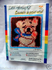 Vintage TEDDY BEAR Latch Hooking Kit By Aronelle (12 x 12 INCHES) SEALED!