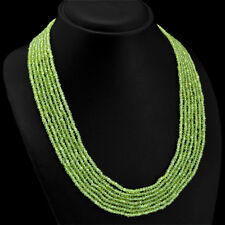 Stunning Dazzling 303.60 Cts Natural Green Peridot 5 Line Faceted Beads Necklace
