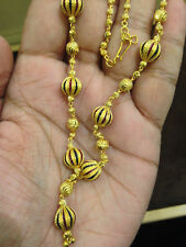 Stylish Handmade Dubai Necklace Earrings Set In Fine Hallmark 22K Yellow Gold