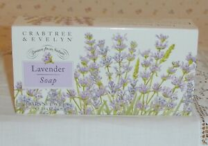 Crabtree & Evelyn Lavender Soap Box 3 Bars x 100g ~ NEW AND BOXED - Discontinued