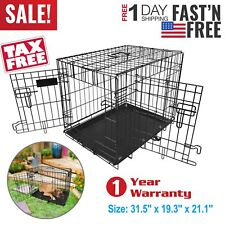 Dog Cage Cozy Pet Puppy Crate 2 Door Home Folding Metal 30 inch Medium Dog Crate