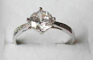 Beautiful 925 Silver & Cubic Zirconia Engagement Dress Ring Size 10 to 20 Gift