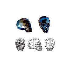 Swarovski Crystal Glass Beads Faceted Skull 5750 Metallic Blue 2X 19x18x14mm