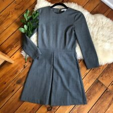 & Other Stories Rare Office Work Box Pleat Gray Suit Exposed Zipper Dress Us 4