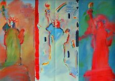 Peter Max Art Print Statue of Liberty Three Impressions Double Page Psychedelic