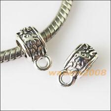15 Tiny Flower Tibetan Silver Bail Bead Fit Bracelet Chrams Connectors 5x11.5mm