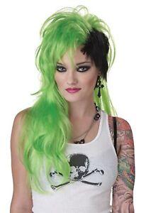 Smash Punk Green Black 80s Rocker Rock Women Costume Wig
