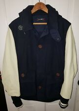 CASH CA England Stadium Jacket Blue Wool cream Leather Pea Coat Made Japan M