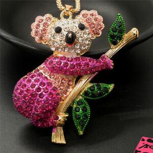 New Betsey Johnson Rose Cute Koala Branch Crystal Pendant Chain Necklace