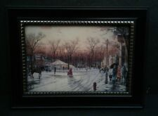 Thomas Kinkade- Town Square Picture in 5.5x7.5 Black Frame Wall/Tabletop