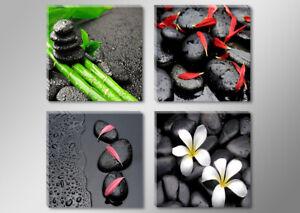 Bilder auf Leinwand 4x 30x30cm schwarze Steine