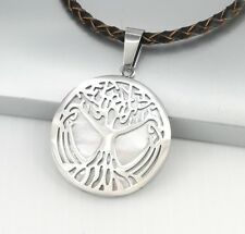 Silver Celtic Tree Of Life Pendant Womens Men Brown Braided Leather Necklace