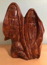 Vintage Large 18# Burl Wood Sculpture Two Middle Eastern Women Burka Muslim