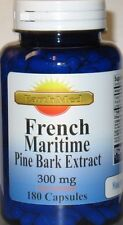 French Maritime Pine Bark Extract 300mg 180 capsules 90% Polyphenols Exp: 2023