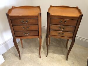 Pair Vintage French Cherrywood Bedside Table Unit chest 3 drawers Night Stand