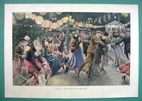 "WINTER Ice Skating Rink Festival Ladies - COLOR VICTORIAN Era Print 14.5"" x 21"""