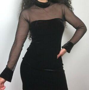 Vintage Jessica Howard 90's Black Velvet Mesh Long Sleeve Dress Women's Size M