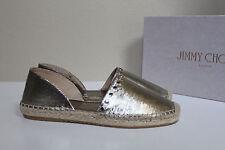 sz 6 / 36 Jimmy Choo Dreya Gold Studded d'Orsay Espadrille Slip on Flats Shoes