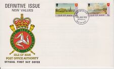 Unaddressed Isle of Man First Day Cover FDC 1975 New Definitive Values 4 1/2p-8p