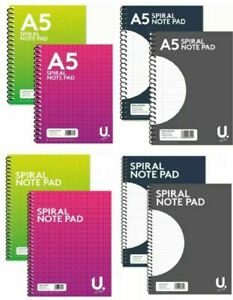 A4 A5 A7 SPIRAL BOUND NOTEPAD BOOK LINED RULED OFFICE JOTTER PAD WORK SHOPPING