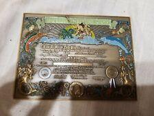 Rare Vintage Us Navy Brass Shellback Certificate Imperium Neptuni Regis
