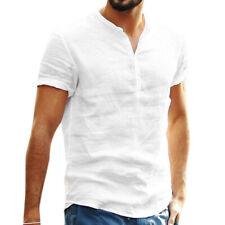 Mens Linen Short Sleeve Solid Shirts Casual Loose Tops Summer T-shirt Blouse Tee