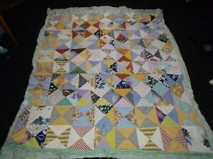"Vtg Hand Stitched Quilt **TLC** Novelty & Feedsack Fabrics 70x78"""