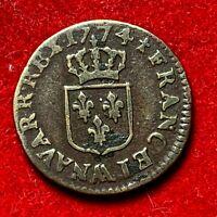 #2677 - RARE Louis XV Liard à la vieille tête 1774 AA Metz TTB - FACTURE