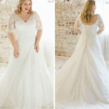 Lace White/Ivory Wedding Dress Bridal Gown Custom Plus Size 18-20-22-24-26-28+