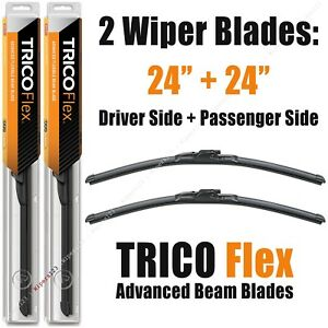 "Driver+Passenger 2-Wiper Set: Trico Flex 24""+24"" Beam Blades 2007-2018 18-240 x2"