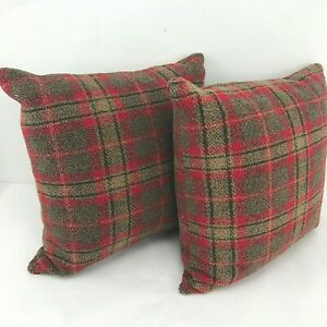 """Set of 2 Ralph Lauren Red Brown Plaid Feather Fill Zippered 16"""" Square Pillow"""