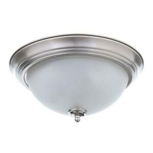 Commercial Electric 11 in. 1-Light Brushed Nickel Flush Mount 2-Pack