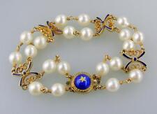 Stunning Vintage 14K Yellow Gold Bracelet w/ Pearls & Blue Enamel