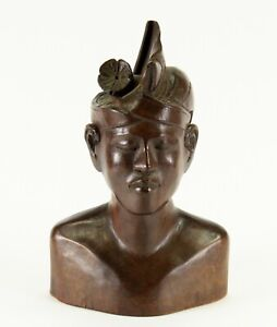 = Antique Indonesian Wooden Carving Head Bust of Young Man Warrior Bali