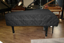 "Grand Piano Cover for Pianos 4'10"" to 5'2"" QUILTED BLACK MACKINTOSH - Heavy Duty"