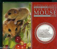 2008 $1 AUSTRALIA LUNAR MOUSE RAT 1 Oz PROOF SILVER COIN Box & COA Mintage: 5000