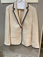 JCREW Beige pink Black Trim Linen single breasted  Blazer Jacket size 8