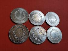 Lot 6 pièces argent50 Francs  Hercule an 1974 / 75 / 76 / 77 / 78 / 79 Lot n° 13