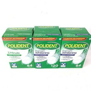 LOT OF 3, 2-Polident Overnight Whitening Denture Cleanser 120,84 Tabs,1-3 Minute
